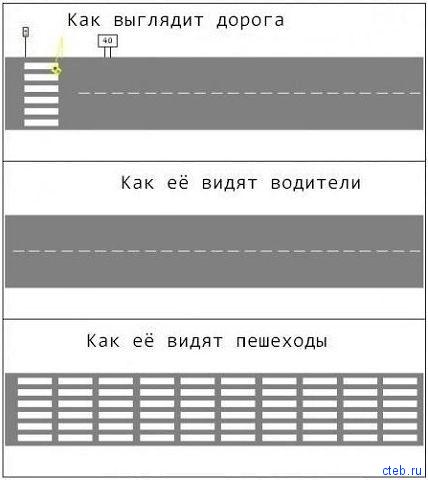 Дорога для пешеходов и водителей