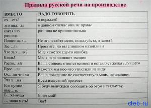 Правило русской речи на производстве
